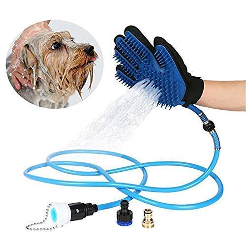 Jukkre Remove Polyester Pet Bathing Sprayer Scrubber Massage Brush with 3 Faucet Adapters for Cat Dog Horse (98.5 inch and 192 x 212 mm, Blue)