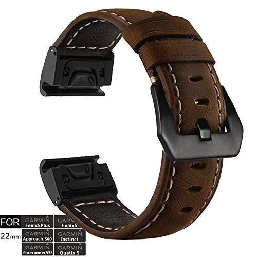 YOOSIDE Cinturino per Garmin Fenix 5 / Fenix 5 Plus/Forerunner 935 /Instinct/Quatix 5, 22mm Quick Fit in Metallo Acciaio Inossidabile con Cinturino in Vera Pelle (Marrone)