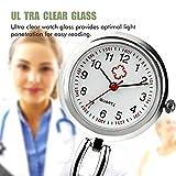 Montre d'infirmière, Medical FOB montres à quartz de poche avec clip sur broche à suspendre, Fantaisie Vie étanche montre d'infirmière avec silicone pour homme femme médecin infirmières Argent