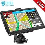 GPS Navi Navigation für Auto LKW PKW 7 Zoll 16GB Lebenslang Kostenloses Kartenupdate Navigationsgerät mit POI Blitzerwarnung Sprachführung Fahrspurassistent 2019 Europa UK 52 Karten