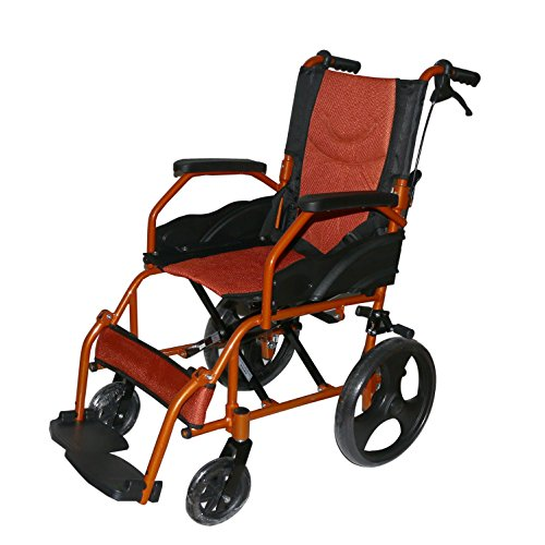 KHL Aluminium Alloy Light Weight, Foldable Back and Flip-Up Leg Rest Wheelchair (Orange)