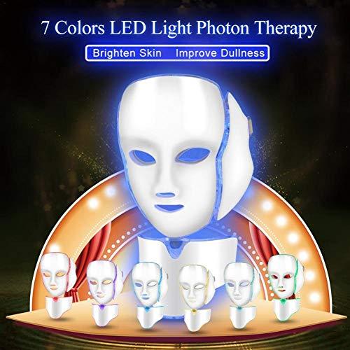 7 couleurs LED masque facial de traitement de la lumière avec Cou, rajeunissement beauté de masque facial, soin visage anti-rides anti-acné ... 23