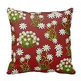 Dennis tienda HJ: 875color rojo flores caso 18x 18pulgadas Algodón Lino manta decorativa Funda de almohada Funda de cojín