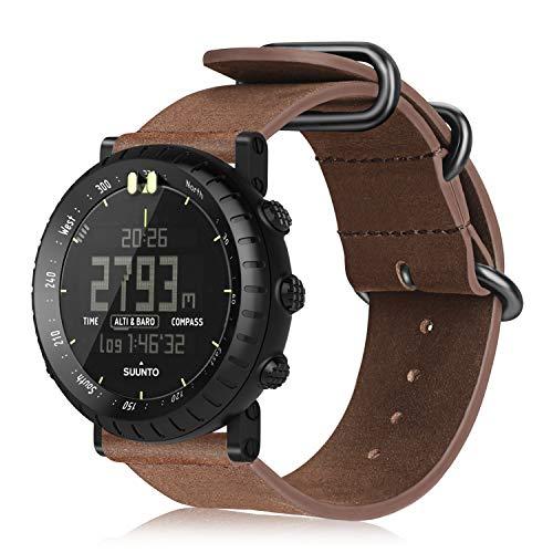FINTIE Suunto Core Cinturino di Ricambio, Morbido Vera Pelle Watch Strap Wrist Bands con Chiusura in Metallo per Suunto Core Smart Watch (Marrone Vintage)