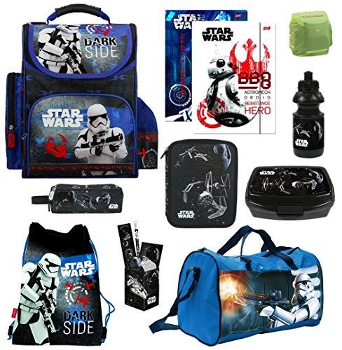 Familando Schulranzen-Set Star Wars 17-TLG. mit Federmappe Sporttasche und Regenschutz Ranzen