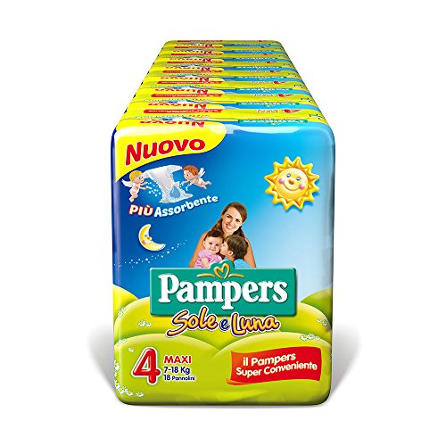 Pampers Sole e Luna Pannolini Maxi, Taglia 4 (7-18 kg), 144 Pannolini