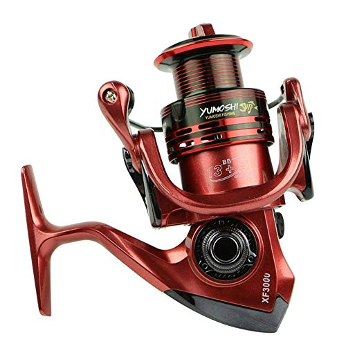 Mulinello pesca mulinello spinning Rotary Reel Fishing Lure Con Spool Oro / Verde / Rosso Spinning Reel 13 + 1BB 5.5: 1 4,7: 1 Full Metal For Pesce Alimentatore ( Bearing Quantity : 14 , Color : Red )