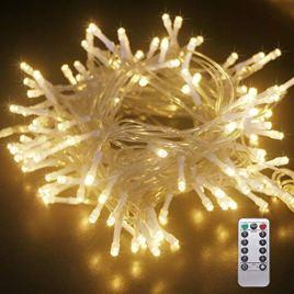 Kolpop Guirlande Lumineuse 120 LED, 8 Modes avec Télécommande et minuterie, Étanche Guirlande LED a Pile Décoration pour Halloween, Noël, Partie, Mariage, Pelouse (Intérieur et Extérieur)