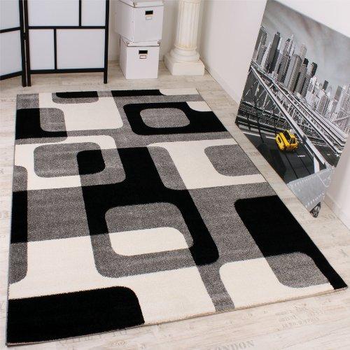Paco Home Tappeto Di Design In Stile Retro/In Grigio Nero Bianco/Qualità Top, Dimensione:70x250 cm