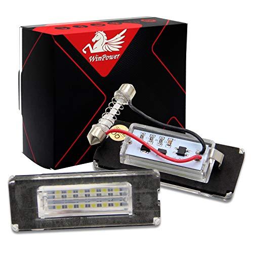 WinPower LED Luci targa per auto Lampada targa 3582 SMD con CanBus nessun errore 6000K Xeno Bianco freddo per Mini R55/R56/R57/R58/R59, 2 Pezzi