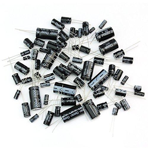 Caratteristiche-125 pezzi dei 25 condensatori elettrolitici valori in un set saranno venduti insieme.-Colore: il nero principalmente.-Materiale: metallo durevole.-Codice marker su ogni condensatore.-Quantità: 25 valori x 5pcs, 125pcs in total...
