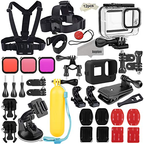 Kupton Kit accessori per GoPro Hero 8 Set di Accessori per Action Camera, Custodia Impermeabile + Manicotto in Silicone + Filtri + Tracolla Pettorale+Supporto per Bicicletta+Impugnatura Galleggiante