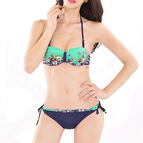 Impresión de mariposa de perforación caliente de espalda correas reunirse traje de baño de bikini ( Color : D , Tamaño : L )