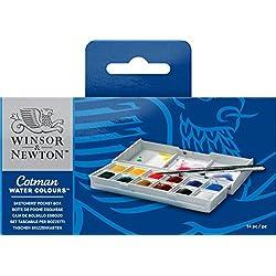 Winsor & Newton Cotman - Caja plástica de acuarela, 12 medio godets