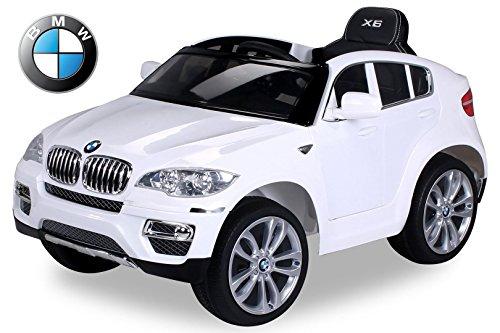 #Kinder Elektroauto Original BMW X6 Lizenzierter 2 x 45 Watt Motor Ledersitz & Dashboard Elektro Kinderauto Kinderfahrzeug (weiß)#