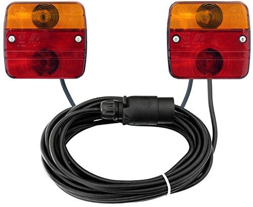 AdLuminis Rückleuchten-Set verkabelt für PKW-Anhänger, 7m Kabel, 7-poliger Stecker, Anhängerbeleuchtung für Straßenverkehr zugelassen, Rücklicht