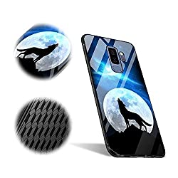 Kaufen Galaxy S9 Plus Hülle, MingKun Gehärtetes Glas Spiegel Schutzhülle für Samsung Galaxy S9 Plus Handyhülle TPU + Glass Thin Pattern Muster Mirror Flexibel Case Cover Handy Tasche Schale Bumper - Wölfe Wolf