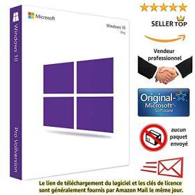 Windows 10 Pro 32/64 Bits Licence - Français - Clé d'activation originale et livraison gratuite par e-mail - Assistance et instructions (Satisfait ou remboursé) Licence perpétue