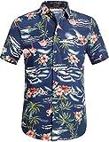 SSLR Chemise Hawaienne Homme Casual Manche Courte Flamants Fleurs (XX-Large, Marine)