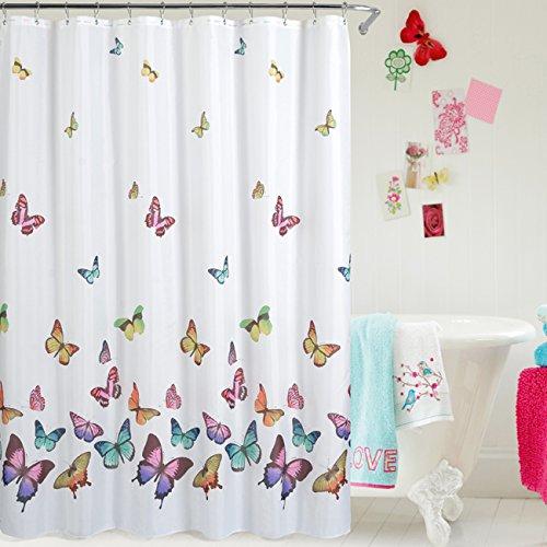 txian impermeable Mouldproof cortina opaca cortina de ducha diseño de colores vivos y baño fabricado con 100% poliéster resistente y duradero, no tóxico, non-smelling, incluye 12ganchos y fácil de instalar, poliéster, diseño de mariposa, 180*180