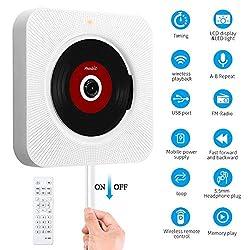 Kaufen CD Player Bluetooth mit Timing-Funktion an der Wand montierbaren tragbaren SD-Musik-Player mit Fernbedienung für Kinder und Studenten, USB Stick/ CD-Musik-Player mit FM-Radio Eingebauter HiFi-Lautsprecher, unterstützt USB/MP3/3,5 mm Kopfhörerbuchse/AUX Eingang-Ausgang (Weiß)