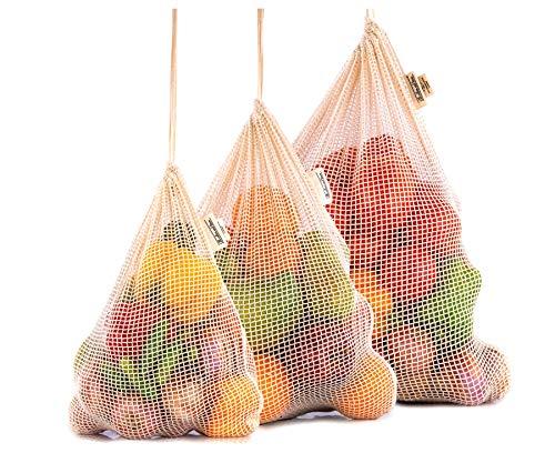 All Cotton and Linen Sacchetto in Rete Riutilizzabile- Sacchetti in Cotone Biologico - Borsa a Rete - Borsa di Cotone - Sacchetti di Cotone riutilizzabili
