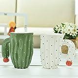 Tazas Blancas y Verdes Con Flor Roja Diseño De Cactus