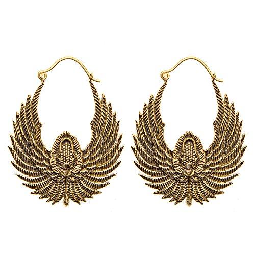 Pendientes en latón alas de pájaro color Oro Egipcio