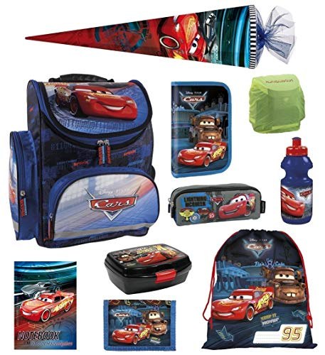 Familando Disney Cars Schulranzen-Set 10tlg. mit Regenschutz, Sportbeutel, Federmappe, Schultüte 85cm TEMCA44 blau