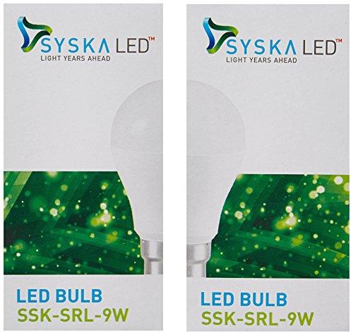Syska B22 9-Watt LED Bulb (Pack of 2, Cool Day Light)