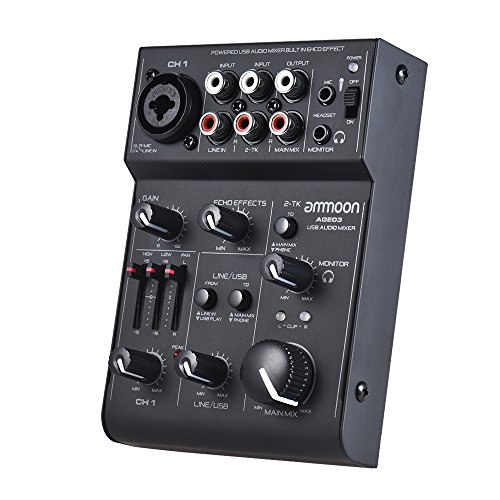 Festnight ammoon AGE03 5-Channel Mini Mic-Line Mixing Console Mixer with USB Audio Interface Built-in Echo Effect USB Powered for Recording DJ Network Live Broadcast Karaoke