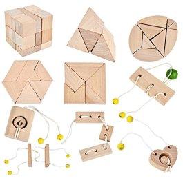 B&Julian 3d IQ Puzzle mini Giocattoli di legno per bambini e adulti 10 pezzi Set
