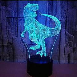 3D Illusion Dinosaurios Lámpara luces de la noche ajustable 7 colores LED Creative Interruptor táctil estéreo visual atmósfera mesa regalo para Navidad