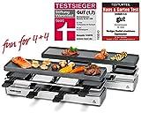 ROMMELSBACHER RC 1600 Raclette-Grill fun for 4+4 (Tischgrill, für 8 Personen, erweiterbar, Parkdeck, Alu-Druckguss-Grillplatte mit Xylan Plus Antihaftbeschichtung, 1590 W) silber