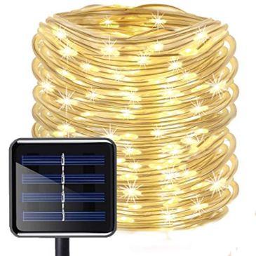 LED Guirlande lumineuse,KINGCOO Etanche 39ft 12M 100 LED conduit à énergie solaire tuyau souple Tube Rope Fil de cuivre de Noël étoilées de lumières pour le mariage Outdoor Garden Party (Blanc chaud)