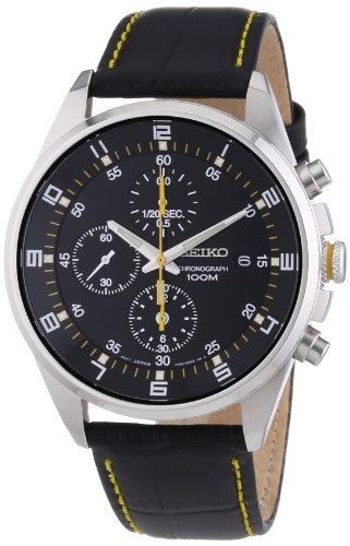 Seiko SNDC89P2 Orologio Cronografo al Quarzo, da uomo, con cinturino in pelle, quadrante nero