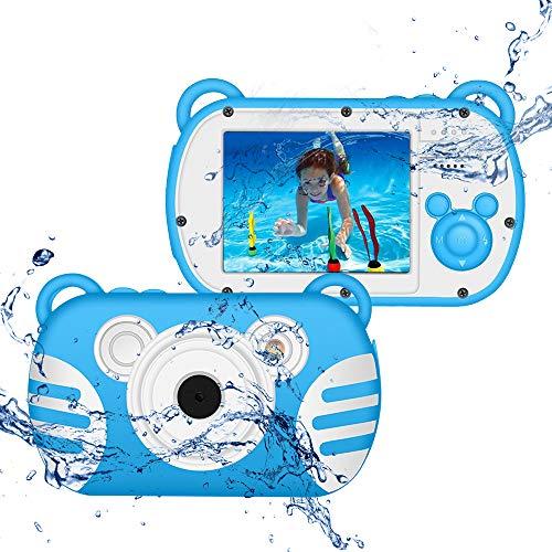 CamKing Kids Fotocamera Subacquea Digitale Impermeabile per Bambini,K6 HD 1080P 18 MP 2.7 Pollici Screen 8X Mini Cartoon Macchina Fotografica per Bambini (Blu)