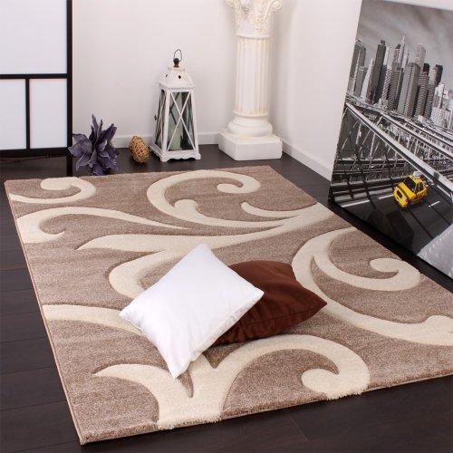 Paco Home Tappeto di Design Orlo Lavorato Moderno Ondulato nei Colori Beige Crema, Dimensione:80x300...