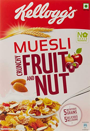 Kellogg's Muesli  Crunchy Fruit and Nut, Multi-grain Cereal, High in Iron, Vitamin B and Source of Fibre, 500gms Pack