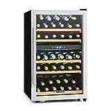 Klarstein Vinamour 40D • Weinkühlschrank • Getränkekühlschrank • Gastro-Kühlschrank • 2 Zonen • 41 Flaschen • 5 Holzeinschübe • LED-Beleuchtung • freistehend • sehr leise • LCD-Display • Touch-Bediensektion • verstellbare Standfüße • schwarz-silber