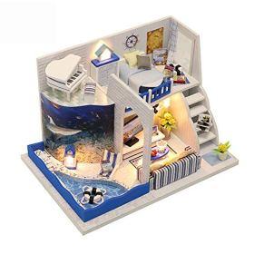 Yzibei Casa de muñecas DIY habitación Miniatura Set-Woodcraft Construction Kit-Madera de construcción de Modelos Set-Crafts Mini casa, Villa con Piscina Modelo Juguetes de Regalo para niños