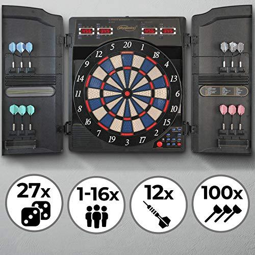 Physionics Elektronische Dartscheibe | 27 Spiele mit 159 Spieloptionen, 12 Soft Pfeile und 100 Ersatzspitzen, LED Anzeige | Profi Dartspiel, Dartboard, Dartautomat