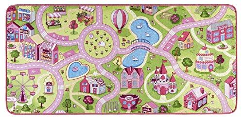 Hanse Home - Tappeto da Gioco per Bambini, in Poliammide, 90 x 200 x 0,65 cm, Colore: Rosa