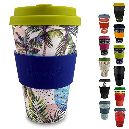 Morgenheld  il tuo bicchiere di bambù alla moda | Coffee-to-Go bicchiere ecologico | bicchiere ecosostenibile con coperchio in silicone e fascetta dal design futuristico da 400 ml (Wave)