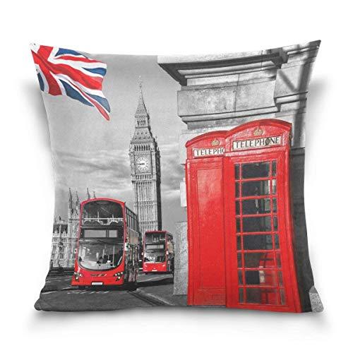 QianruB-No. 1Custodia per Cuscino Decorativo Cuscino Quadrato Federa, Simboli di Londra Big Ben Union Jack Divano Letto Pillow Case (45,7x 45,7cm) Doppia Lati