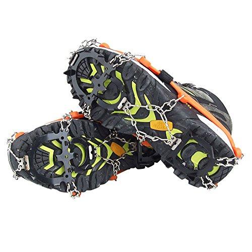 Crampones - SODIAL(R) 2 x zapatos de crampones de 12 dientes de garras antideslizantes cadena de cubierta de acero inoxidable al aire libre de esqui de senderismo en tipos variedad de terreno,naranja 4