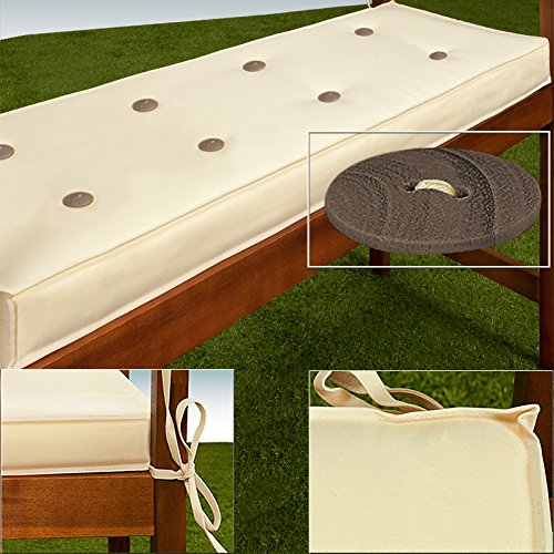 Detex® Bankauflage   Wasserabweisend   Extradick   3er Auflage   145cm   Sitzkissen Sitzauflage Sitzpolster Bankpolster Auflage - Farbwahl - Creme