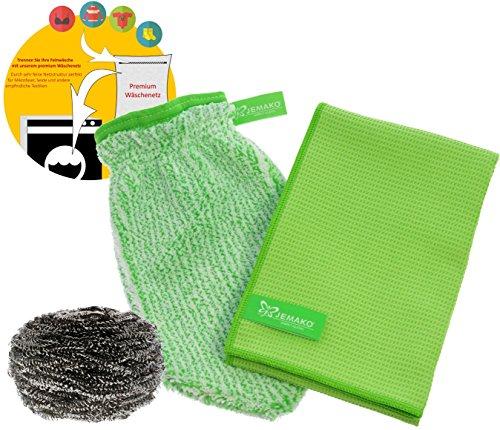 jemako Set Verde–Panno asciutto (45x 60cm) + Pulizia Guanto con spirale in acciaio inox &...
