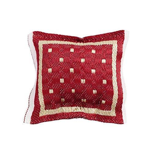 Mini cuscino rosso da 4 x 4 cm, per casa delle bambole in scala 1/12, divano in miniatura, accessori di arredamento per camera da letto