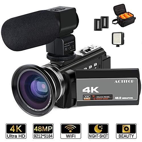 ACTITOP Videokamera, 4K-Camcorder, 48 MP, Full HD, 1080p, WLAN, IR-Nachtsicht, 16-facher digitaler Zoom, Video-Camcorder mit externem Mikrofon, Weitwinkel-Objektiv, LED-Videoleuchte und Kameratasche